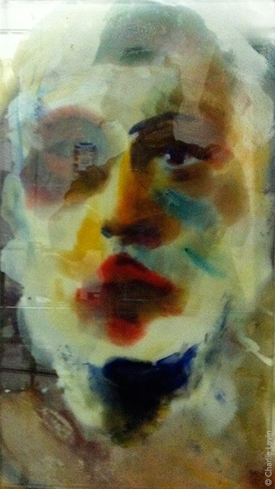 wax (encaustic) on glass
