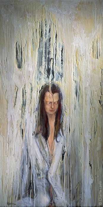 Withstanding the Rain Oil on Mirror / 24 x 48 inches   Photo by Kevin Anderson