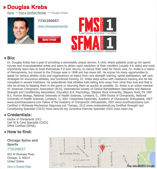 Dr Krebs Is Now Certified In Sfma Chicago Chiropractor Chicago