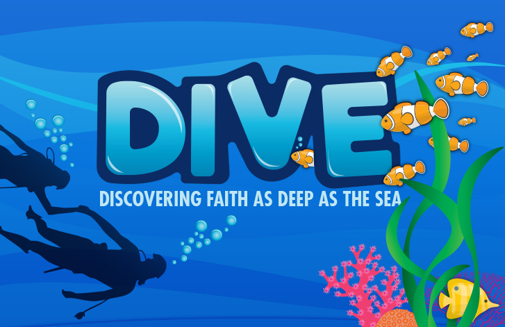 Cartoon underwater world with fish, plants, island