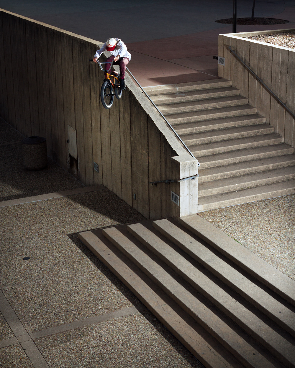 Tony Malouf with the quickest way to the bottom of the stairs.