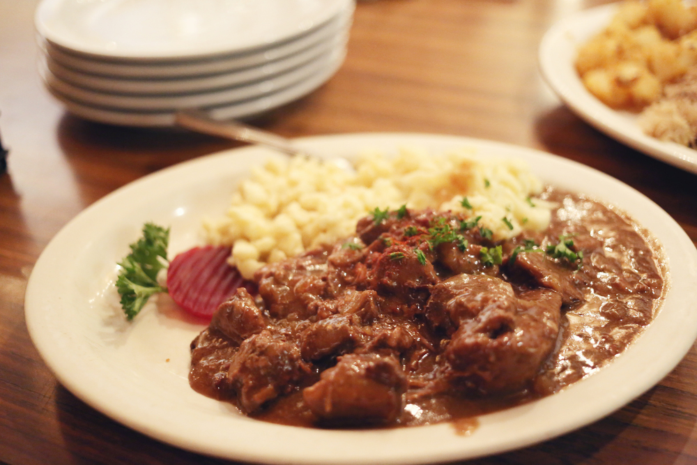Bavarian Beef Goulash    Chunks of tender beef in a hearty brown sauce served with our homemade spatzle noodles.