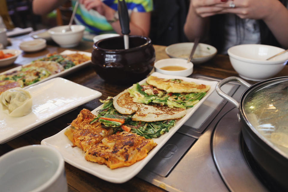 Assorted Pancakes – Mung Bean, Ground Potato, Chopped Red Pepper & Leek, Chopped Kimchi