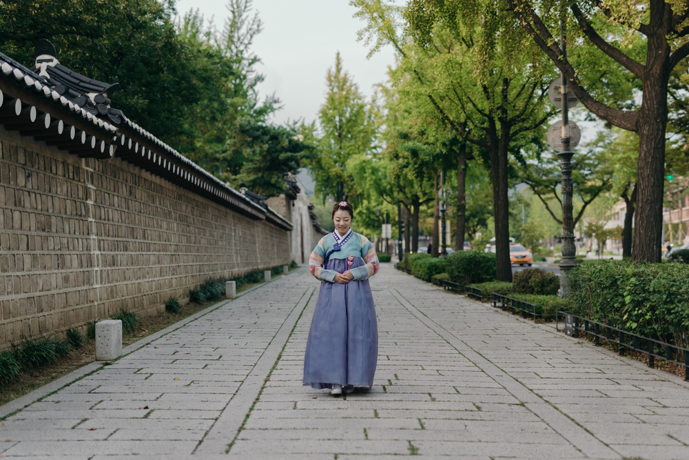 Graduation day Hanbok portrait session in Seoul, South Korea.