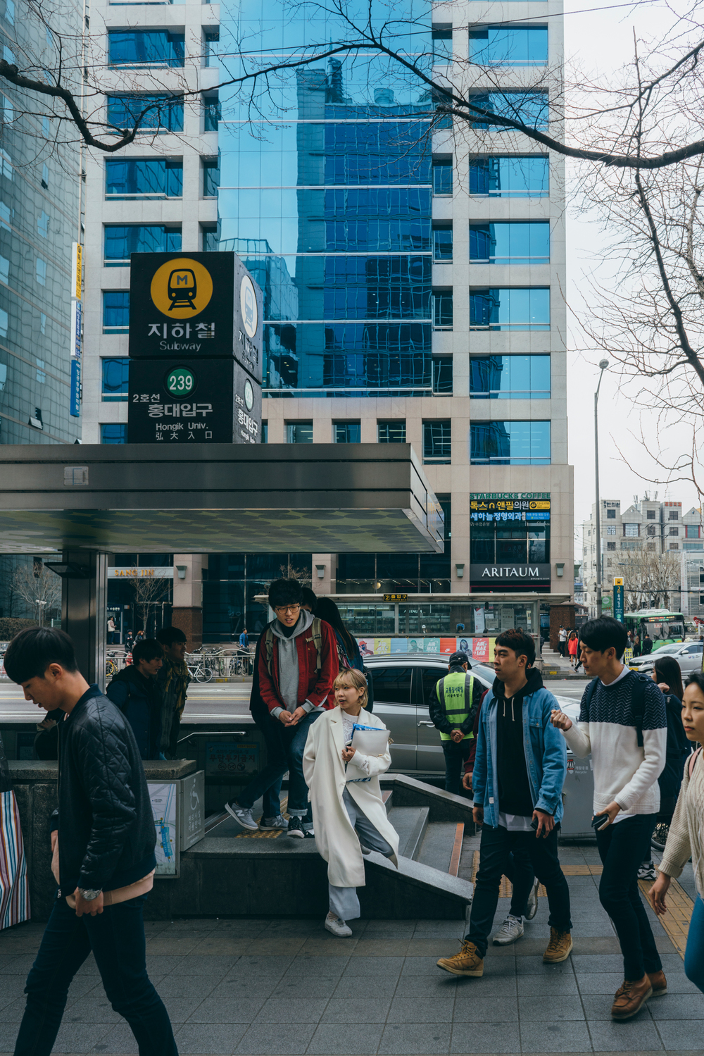 Greysuitcase in Seoul: Hongik University Station (홍대입구) Exit 8, Hongdae, South Korea.