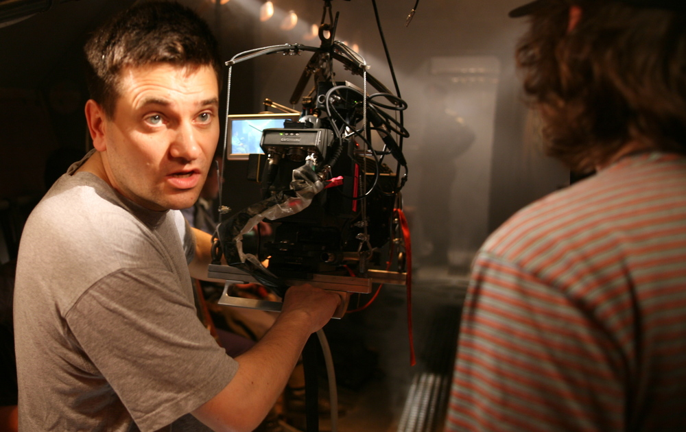 Simon with a Viper camera on the set of Mutant Chronicles