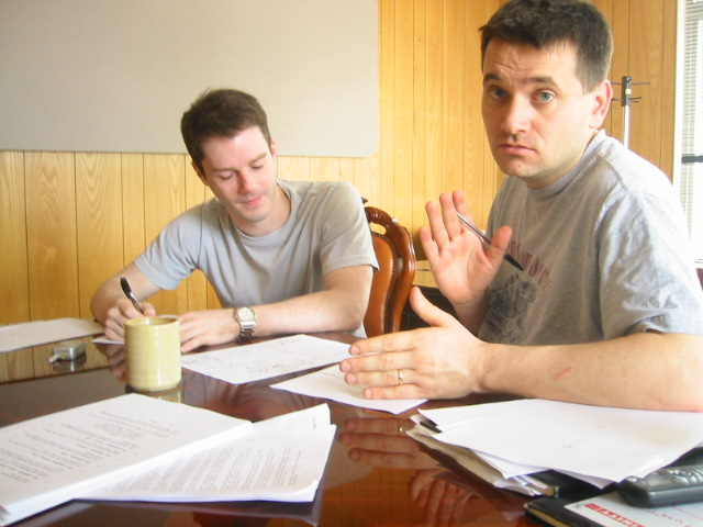 Simon storyboarding with Liam Gavin