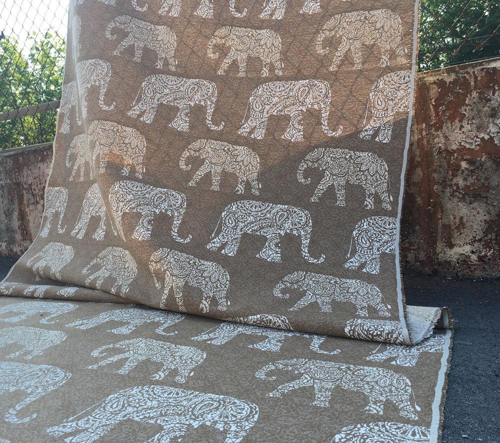 elephants burlap