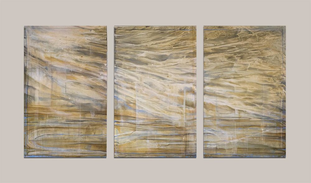"Scape Triptych, each panel 48x30"", total 48x90"", oil on canvas"