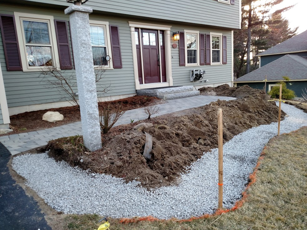 Pavers have been returned to the walkway and gravel foundation is ready for our new Goshen stone wall