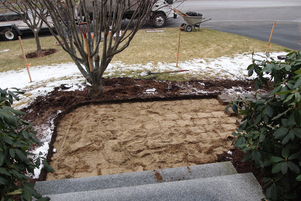 March 22: Pavers were temporarily moved to access maple tree root ball