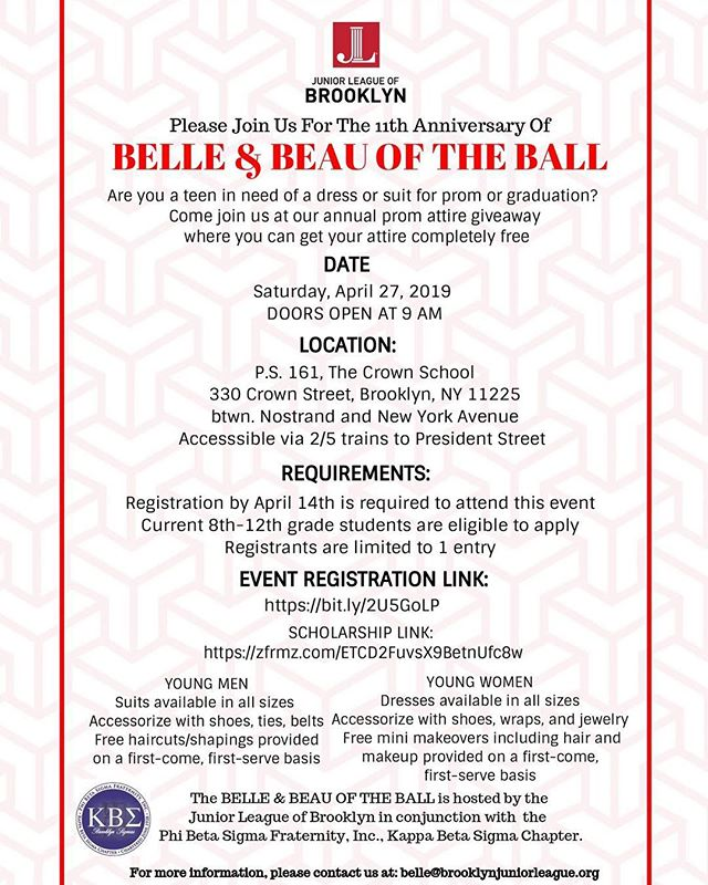 The 11th Anniversary of The Belle and Beau of the Ball is just around the corner!  The Belle and Beau of the Ball is an annual prom giveaway presented by @jlb1910 and the @brooklynsigmas to provide young women and men with formal attire to attend prom and graduation festivities coupled with a college scholarship program. This years annual giveaway event will be held on April 27th, 2019 in Brooklyn, NY.  Help us spread the word to any young men and women who may be interested being a part of this program.  To register for this free event click here: https://bit.ly/2U5GoLP  To apply to the scholarship click here: https://zfrmz.com/ETCD2FuvsX9BetnUfc8w  #Promgiveaway #brooklyn