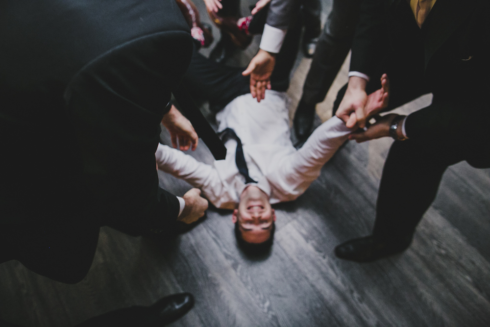 Daniel on the floor during the Horah dance, 2015