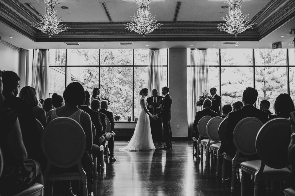 bride and groom during wedding ceremony at rosewater toronto