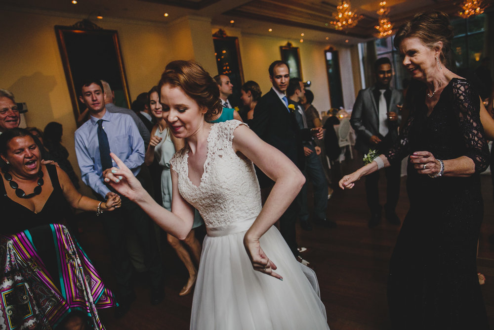 Bride dancing during wedding reception at rosewater toronto