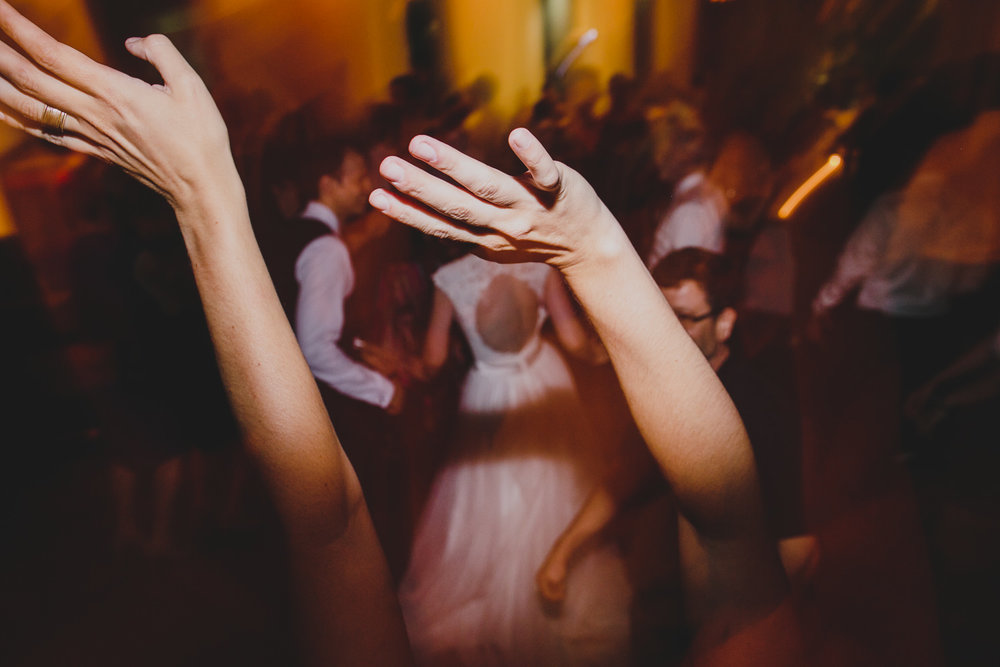 hands in the air during rosewater toronto wedding