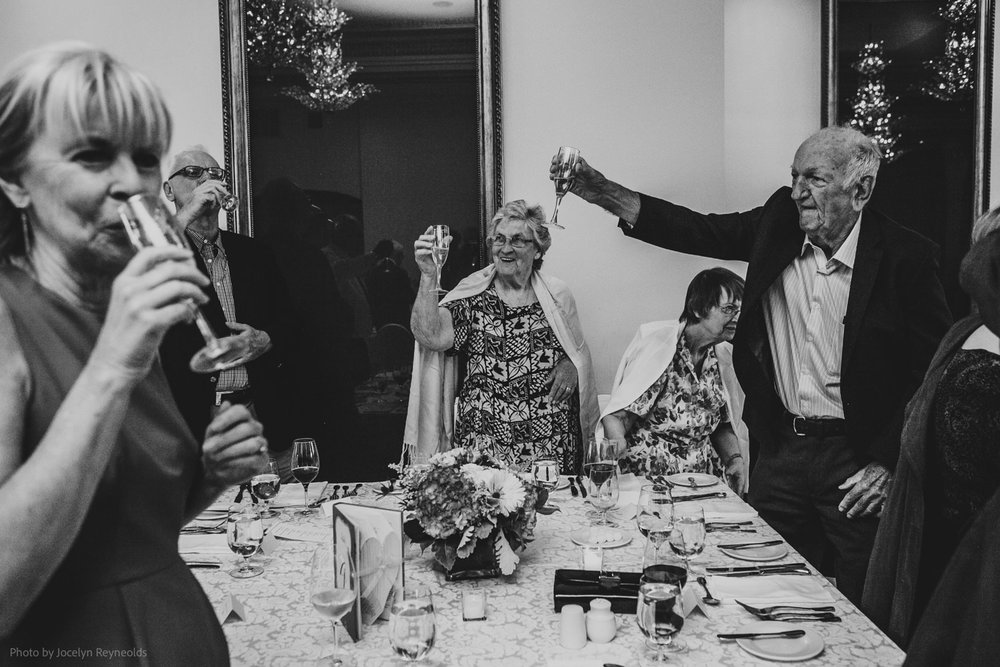 guests toasting during wedding reception at rosewater toronto