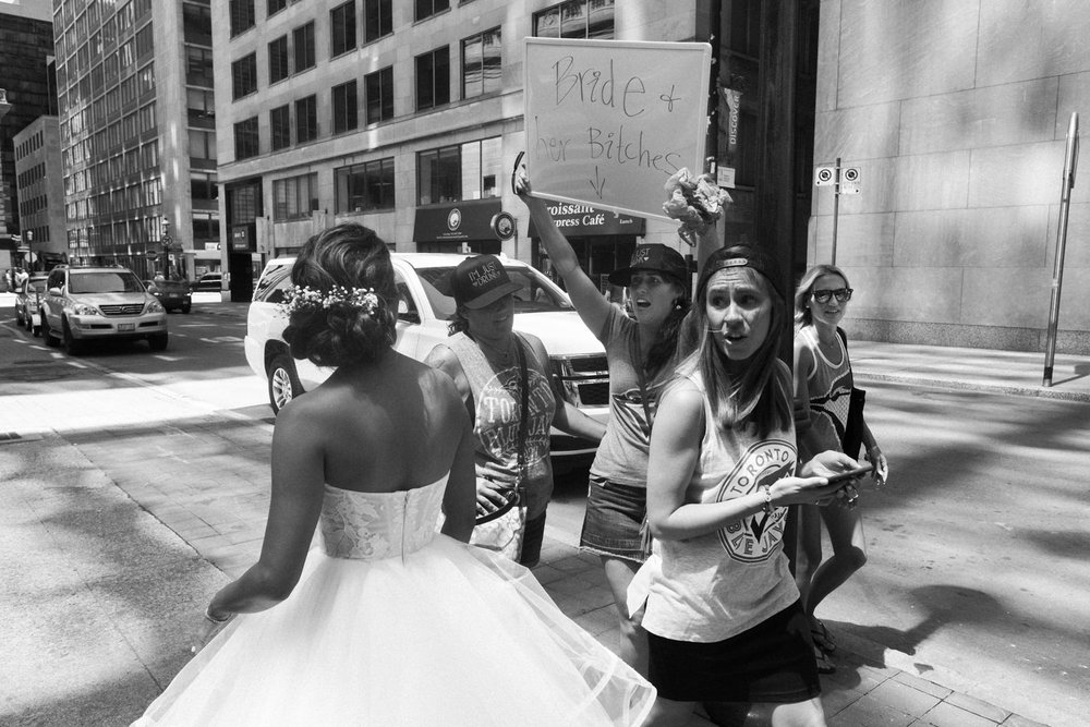bride's encounter with bachelorette party