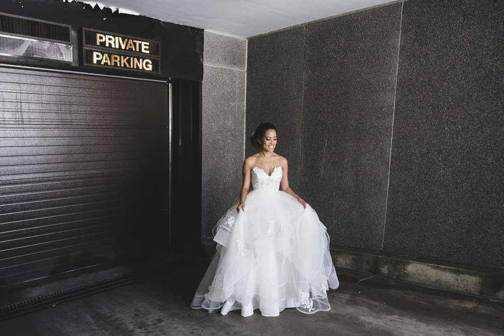 bride portrait in garage entrance