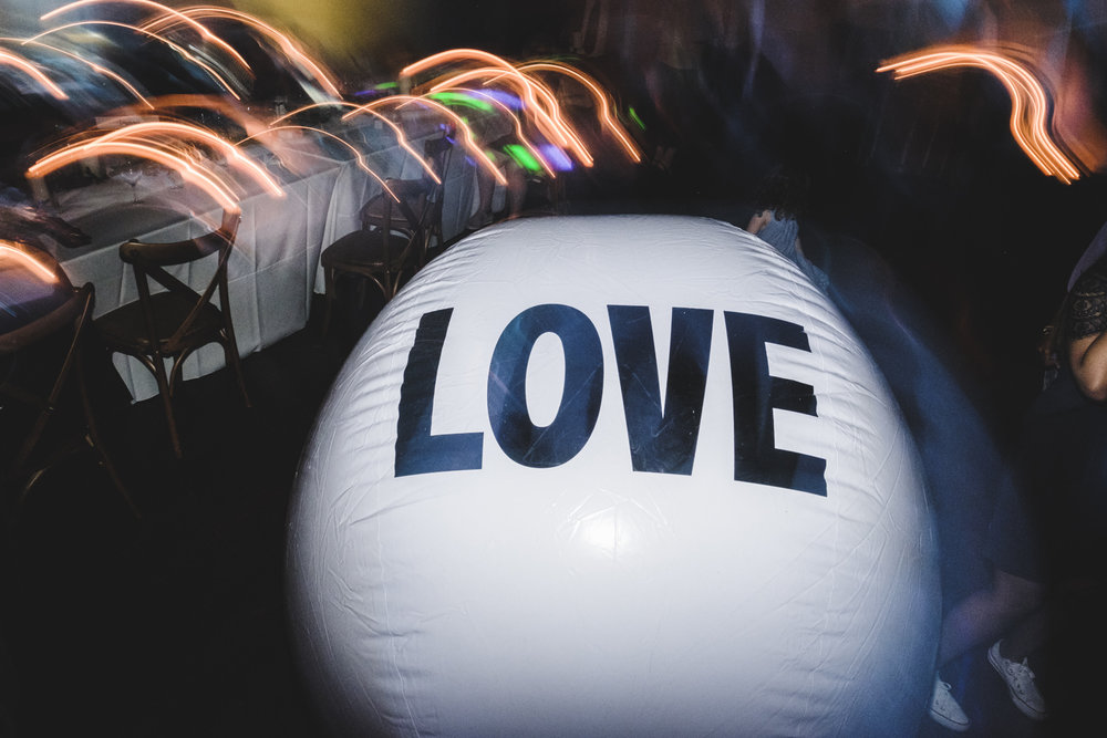 love ball at wedding reception