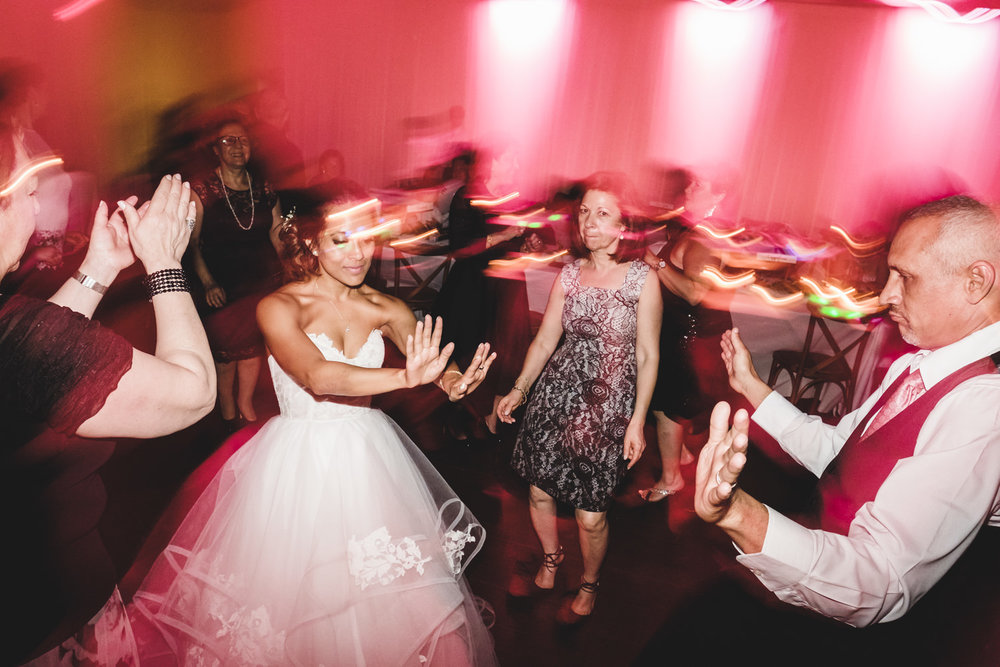 bride dances with crowd
