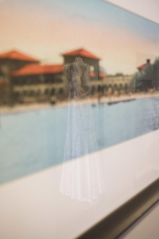 wedding dress in reflection