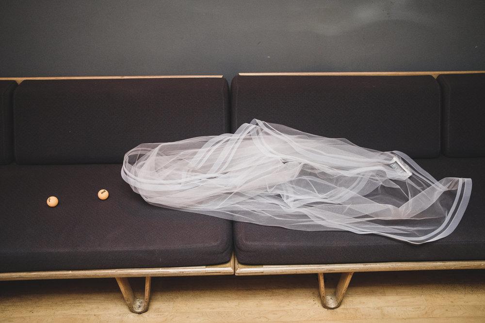 bride's veil and ping pong balls at spin toronto