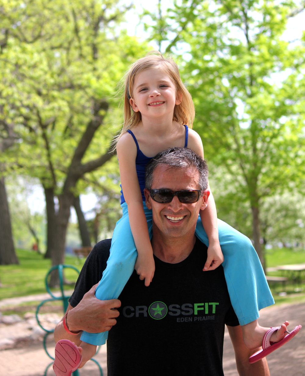 """Paul and one of his daughters, Elena, at Memorial Day """"Murph"""""""
