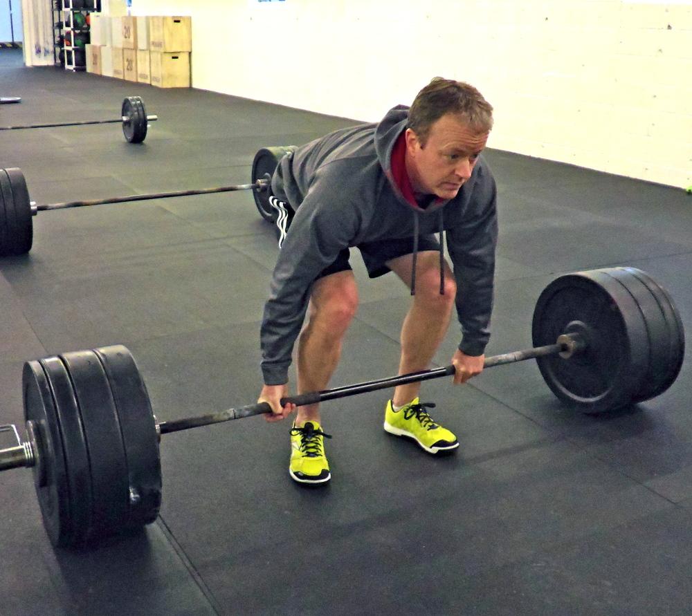 Dave O. prepping for a 300 lb. deadlift