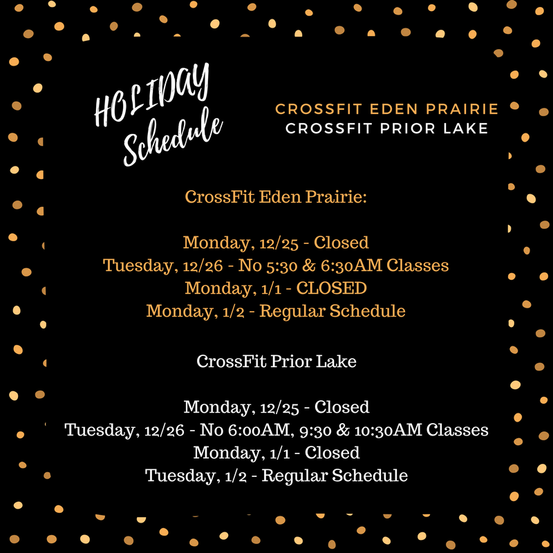 Holiday Schedule for the week of 12/25 & 1/1.