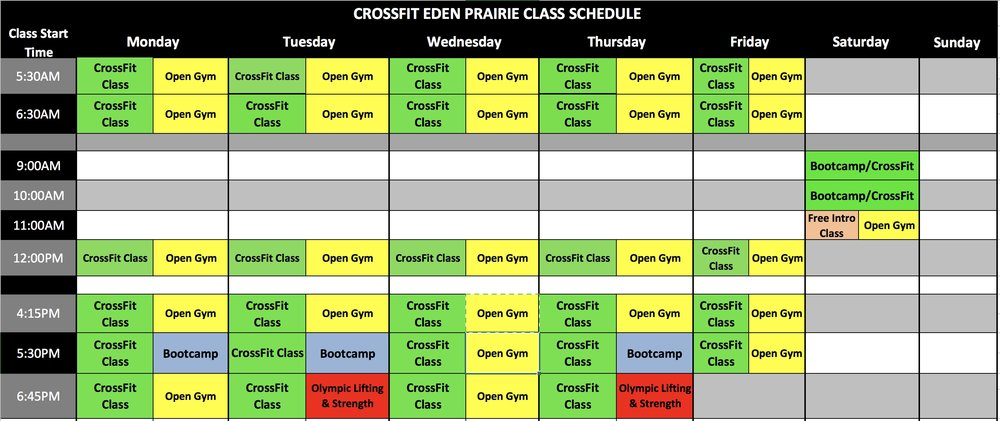 *CrossFit Eden Prairie has one of the most extensive class schedules of any CrossFit facility in the twin cities. That, plus you have access to classes at our Prior Lake location!    **Olympic Lifting class will now be offered at 645PM on Tuesday/Thursday.    *** NO Open Gym on Monday/Tuesday/Thursday at 530PM or Saturdays at 9:00AM & 10:00AM