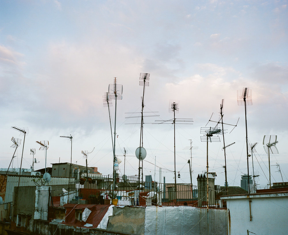 Antennas against the skyline in Barcelona, Spain