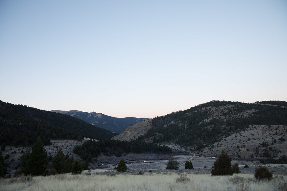 Hunting camp in a valley in the rocky mountains