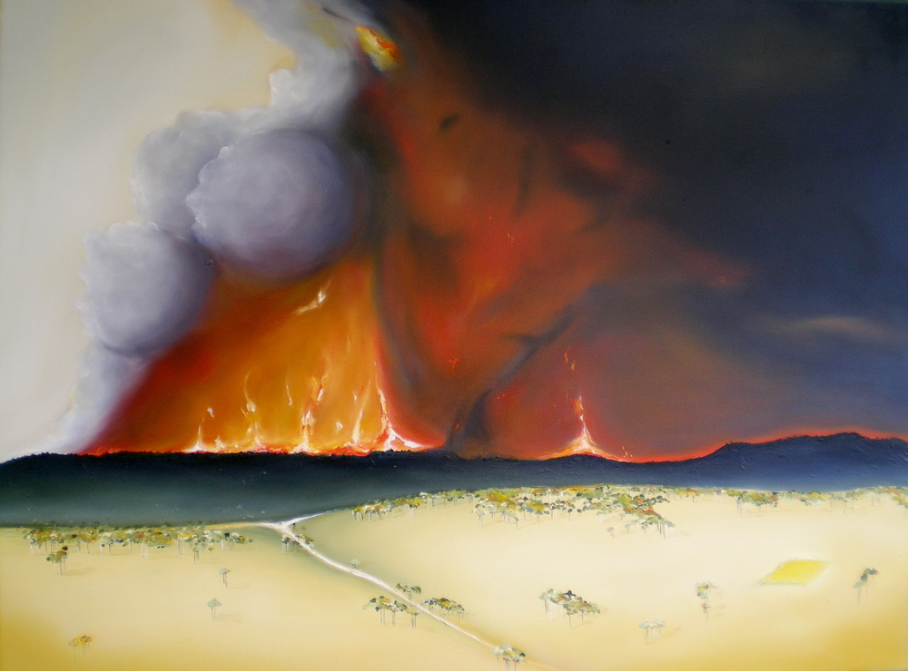 """Fire In The Hills"" Oil on canvas Size: 120cm x 92cm Price:  SOLD   $3,000"
