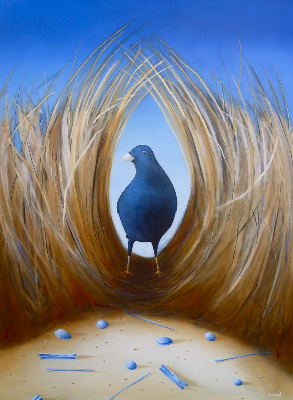 """Bowerbird""    Oil on canvas  Size: 120cm x 92cm   PRICE ON APPLICATION"