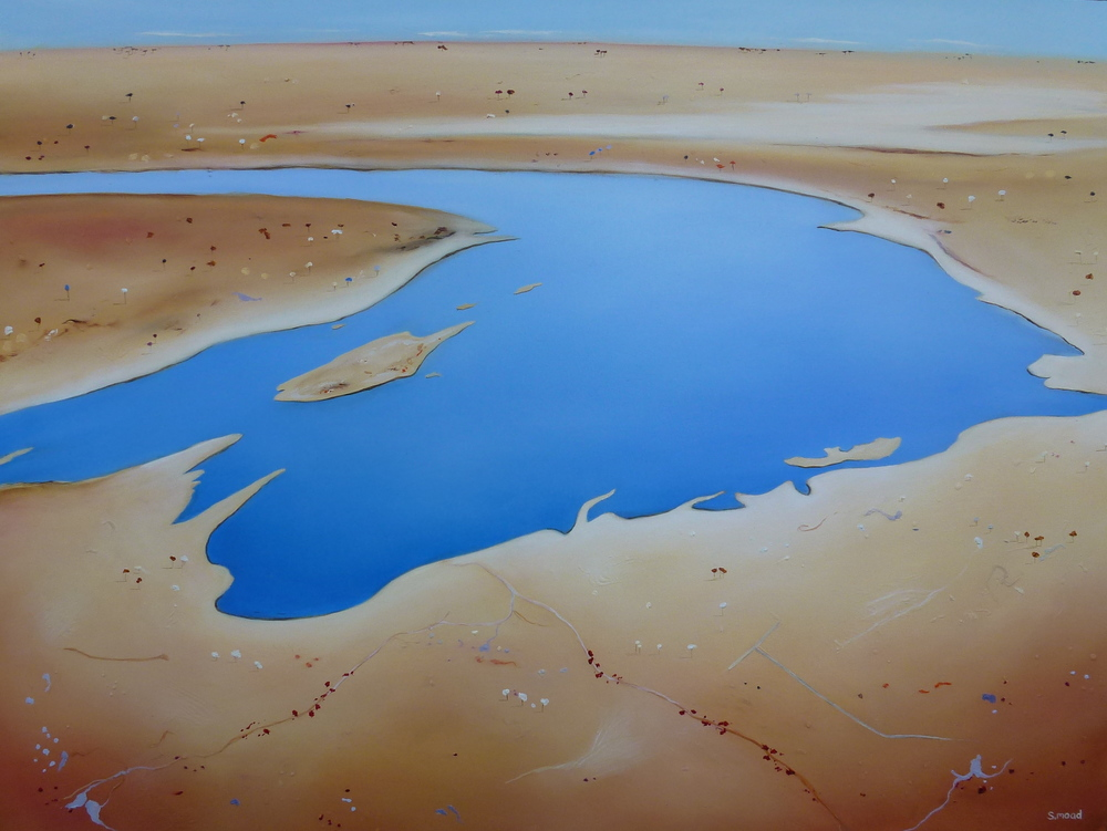 """Lake Eyre In Flood"" Oil on canvas Size: 101cm x 76cm PRICE: SOLD"