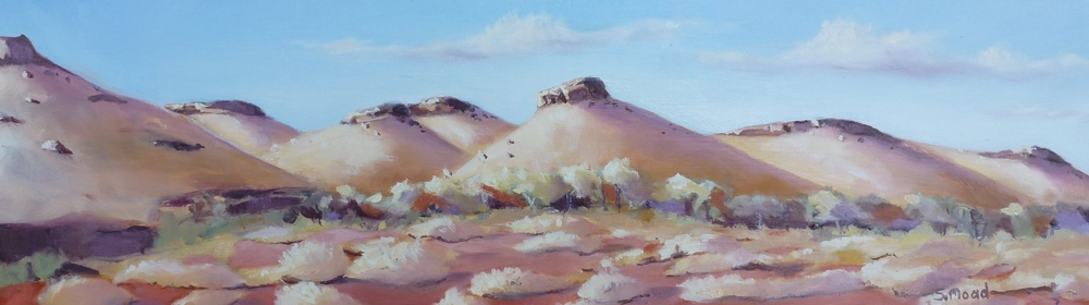 """Mesas In The Pilbara""    Oil on masonite  Size: 50cm x 15cm / 20"" x 6 inches   Price: $1,300 (Framed)"