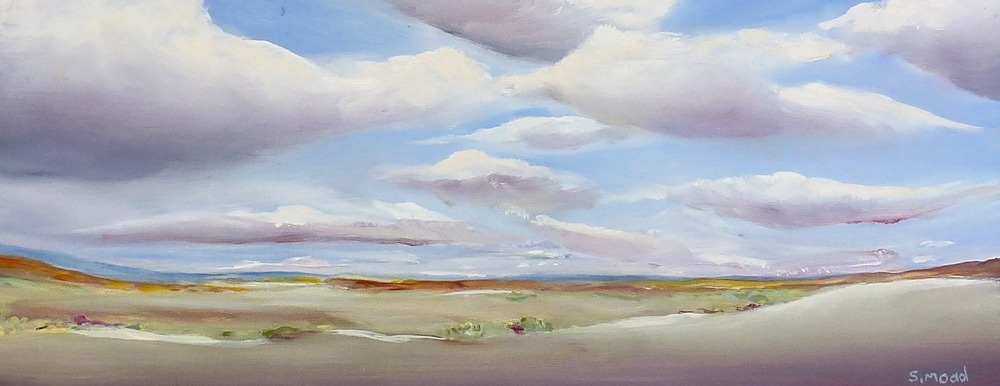 """Clouds Over The Valley""   Oil on masonite  Size: 50cm x 20cm / 20"" x 8 inches"