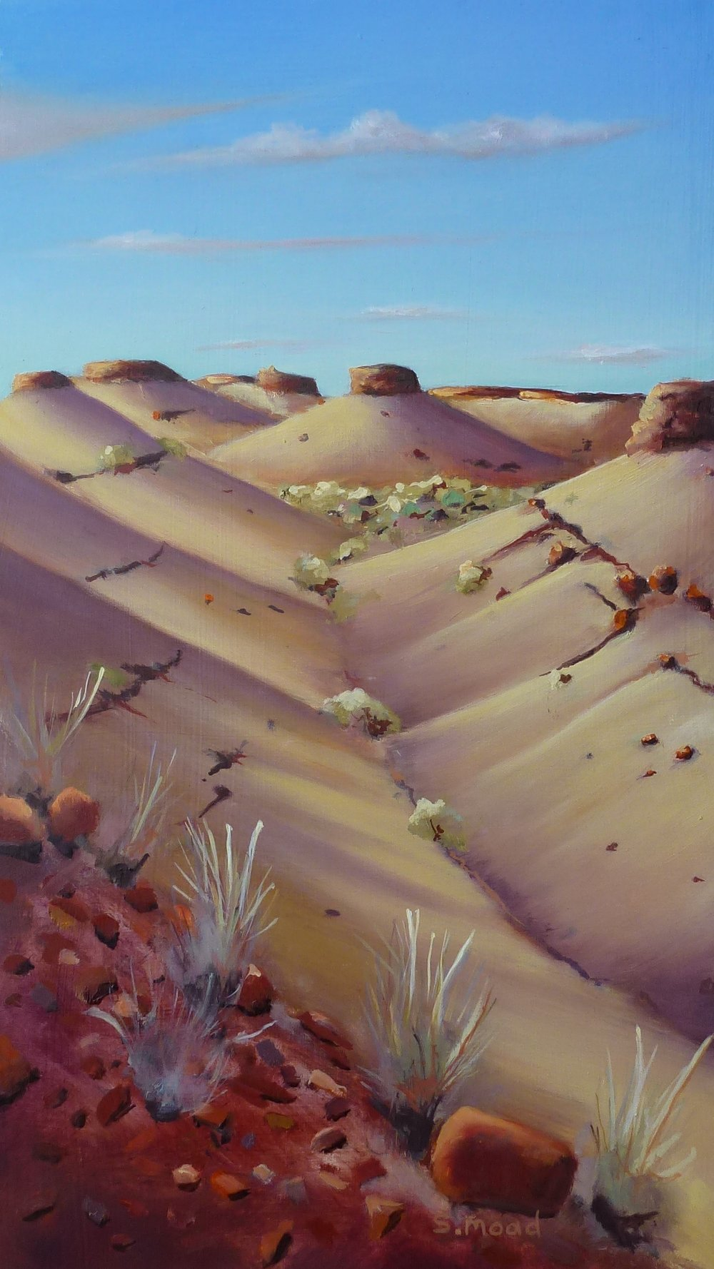 """Sun Coming Up On The Mesa's - Pilbara Western Australia"" Oil on masonite Size: 25cm x 440cm Price: $1,000"