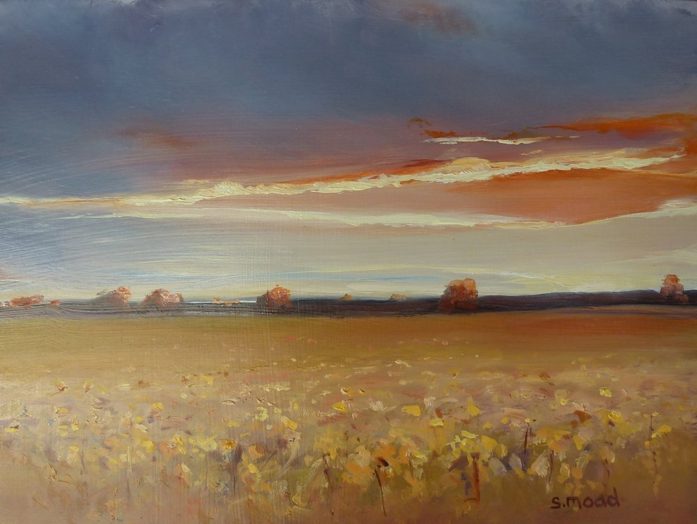 """Sunset On The Canola - beverley Western Australia""   Oil on masonite  Size: 30cm x 23cm  Price:  $800    SOLD"