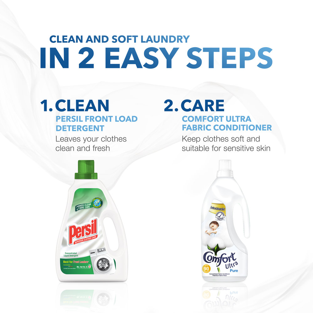 - Repeated washing of clothes can cause cloth fibres to tangle, making them prone to wear and tear. Complementing a clean wash by Persil, Comfort Ultra lightly conditions the cloth fibres to help them remain soft and smooth, while leaving a long-lasting fresh fragrance.