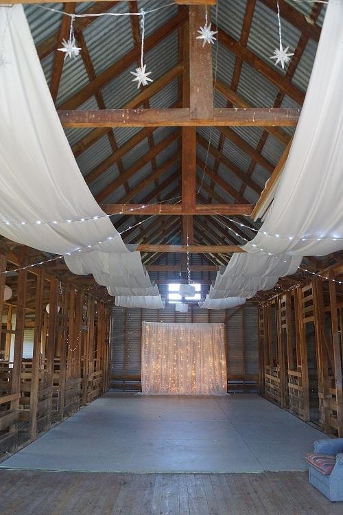 Ceiling drapery in woolshed.JPG