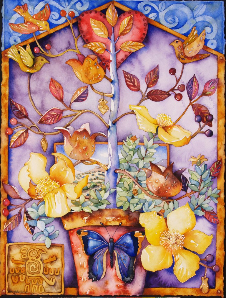 "Mariposa Tree of Life   watercolor  30"" x 22""  Collection of Vivian Varela"