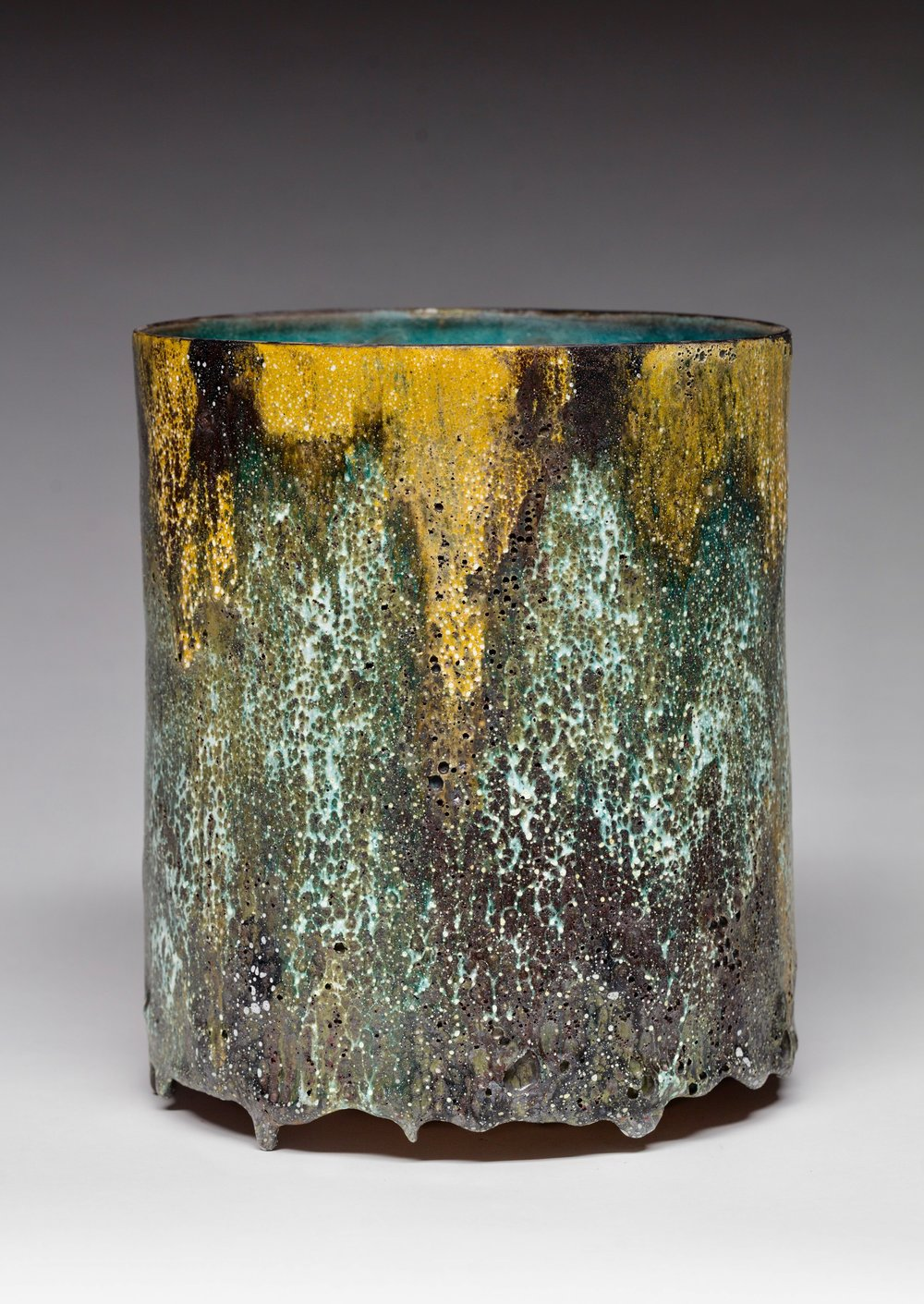 12 -  Pictorial Vessel , 2016   Ceramic, crater glaze - Signed and dated H. 26,7 x D. 22,9 cm H. 10.5 x D. 9 in. Unique  JK#1235