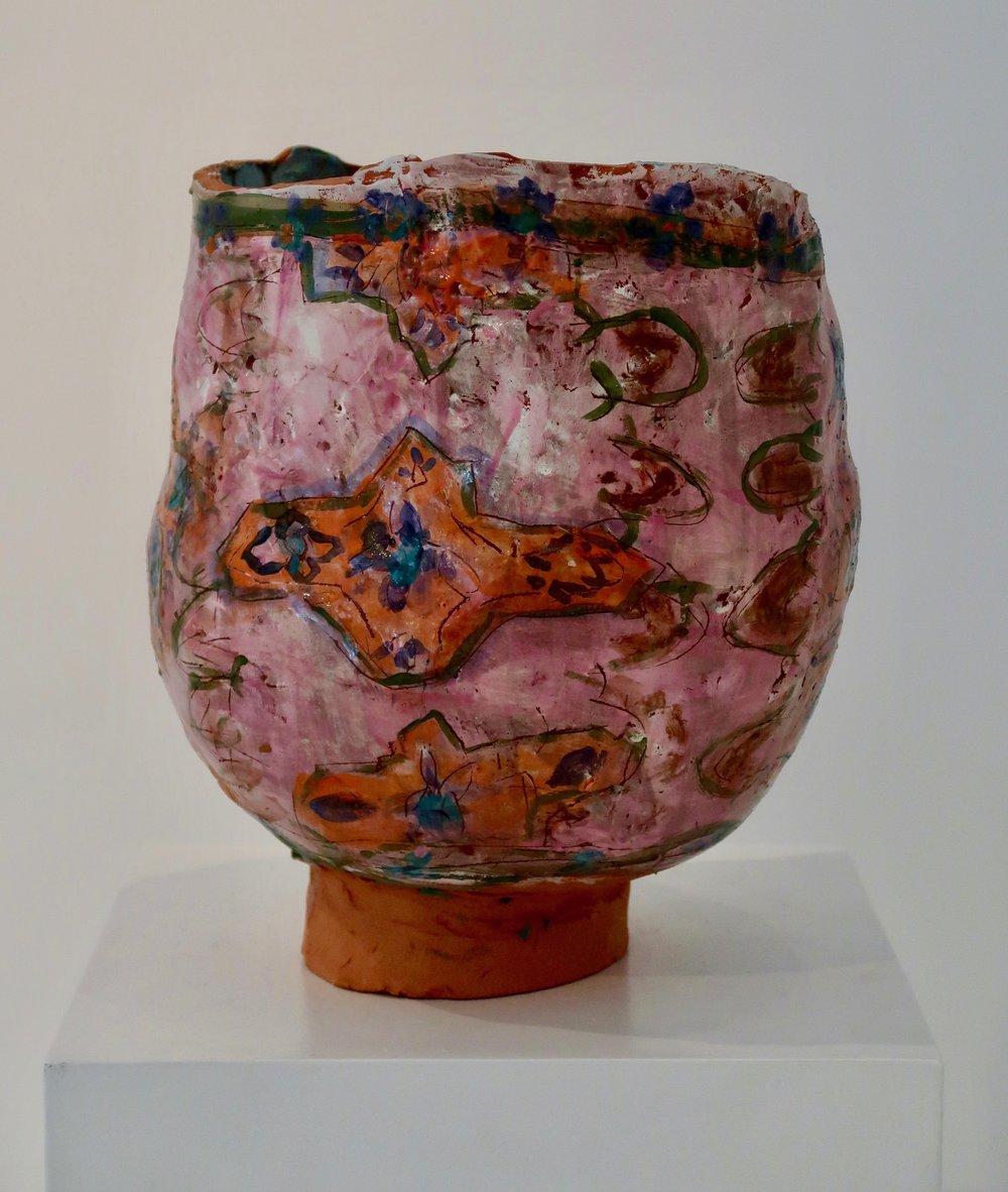 JR#09, Pink and Orange Tapestry, Glazed Stoneware, 13 x 10.6 in (1).jpg