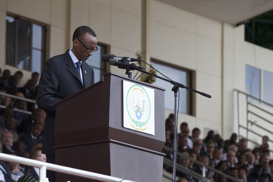 HE President Paul Kagame speaking during Kwibuka20 at Amahoro Stadium.