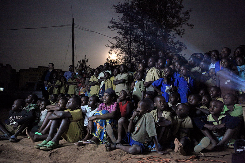 "A couple hundred people attended the screening of ""Rooster Says: Child Heart Health"" and ""Open Heart"" in Bugesera, Rwanda, on September 10, 2014."