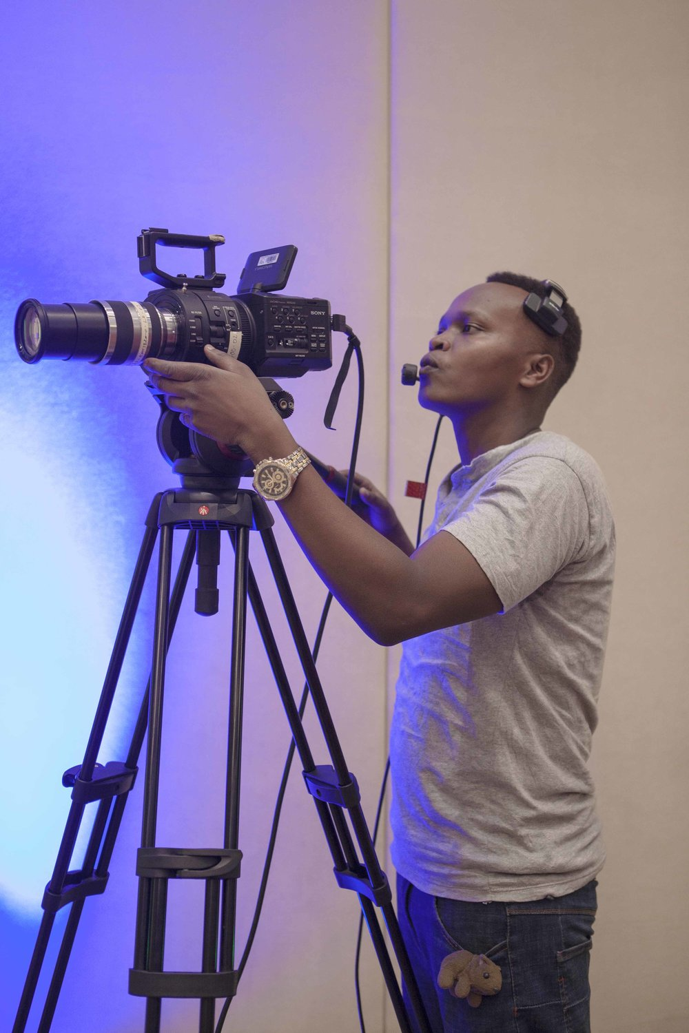 Yves, one of ADMA students setting up the Sony FS700