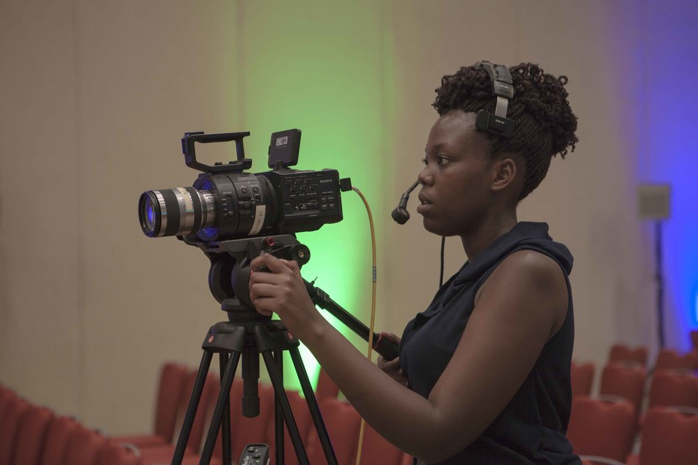 Sandrine, one of the ADMA students, making sure that the FS700 is well set