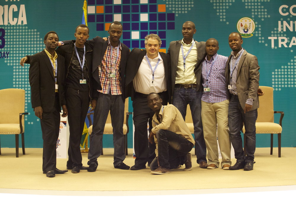 Alex with the team (left to right, Methusela, Steve, Lievain, Seth, Olivier, Clement, Blaise)